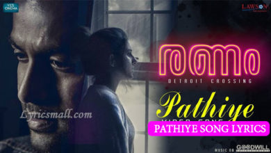 Photo of Pathiye Song Lyrics | Ranam Malayalam Movie Songs Lyrics