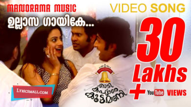 Photo of Ullaasagaayike Lyrics | Adi Kapyare Kootamani Movie Songs Lyrics
