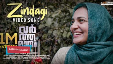 Photo of Zindagi Lyrics | Varthamanam Malayalam Movie Songs Lyrics